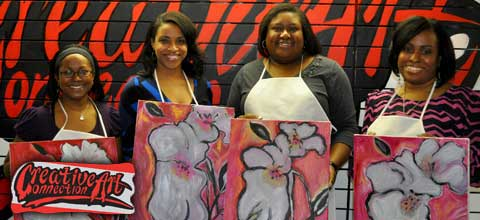 Atlanta Fundraiser African American Girls Group Sip and Painting Art Classes Amateur Art Course